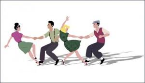 Jødisk Danseklub 2 par som danser