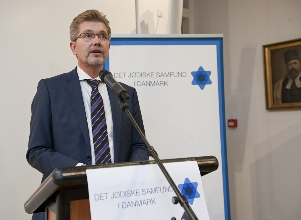 Overborgmester Frank Jensen taler i Det Jødiske Hus. Foto: Mikael Hjuler