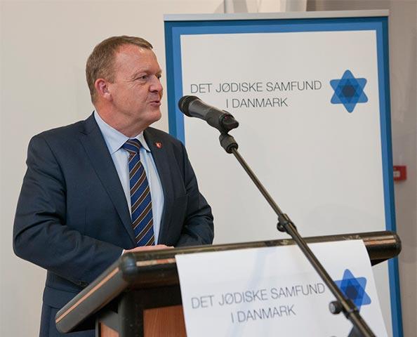 Statsminister Lars Løkke Rasmussen taler i Det Jødiske Hus. Foto: Mikael Hjuler